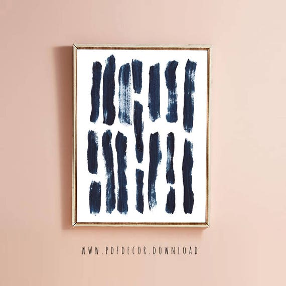 Blue Brush Stroke Art, Blue Abstract Art, Minimalist Art, Art, Blue Minimalist, Scandinavian Decor, Modern Art, Digital Download, Wall Art