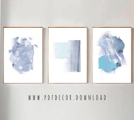 Set of 3 Abstract Art, Set of 3 Blue Prints, Set of 3 Prints, Set of 3 Wall Art, Blue Abstract Set, Modern Minimalist, Blue Modern Art, Art