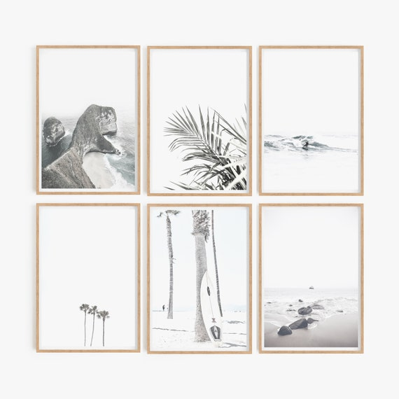 Coastal set of 6 Beach Prints Surfing Wall art Surf Prints Coastal decor Living Room decor Ocean Beach Photography Set of 6 Beach Prints Art