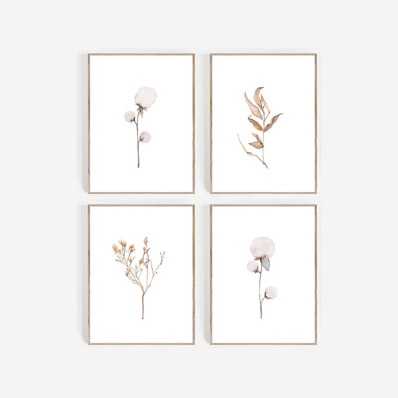 Set of 4 Farmhouse Prints, Art Prints, set of 4 Prints, Set of 4 Wall Art , Watercolor Prints, Leaves Print, Minimalist Wall art, Printable