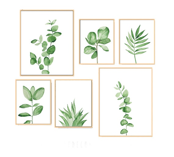 Set of 6 Leaves Prints, Set of 6 Prints, Set of 6 Tropical Prints, Botanical print set, Botanical Print, Watercolor  Print, Eucalyptus, Art