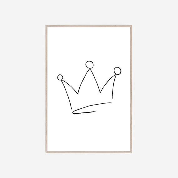 Crown Print, Silhouette Wall Art, Minimalist Print, Graphic Print, Modern Minimalist Art, Contemporary Art, Art Prints, Black White Art