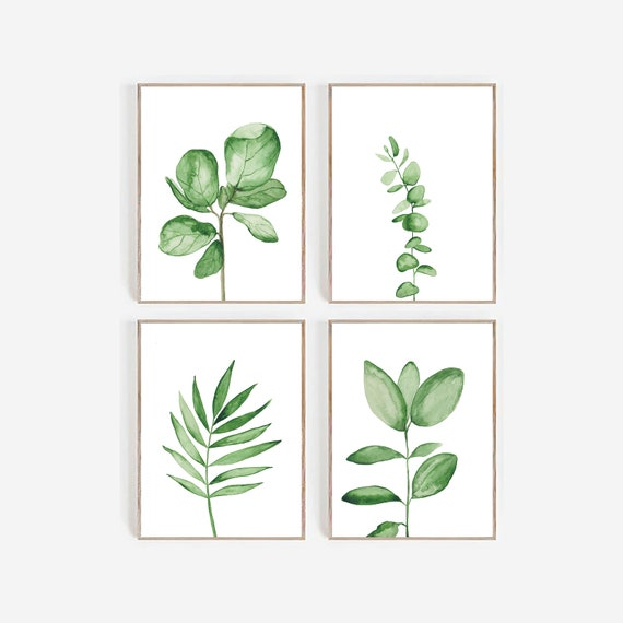 Set of 4 Tropical Prints, Set of 4 leaves prints, Watercolour leaves, Eucalyptus, Fiddle, Botanical Prints, Farmhouse Decor, Watercolour Art