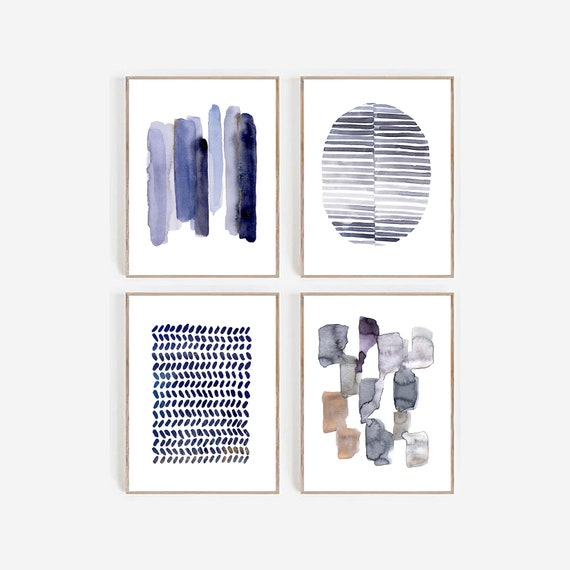 Set of 4 Abstract Prints, Abstract Set Of Prints, Set of 4 Art, Set of 4 Blue Navy Prints, Set of 4 Blue Art, Set of 4 Art, Prints