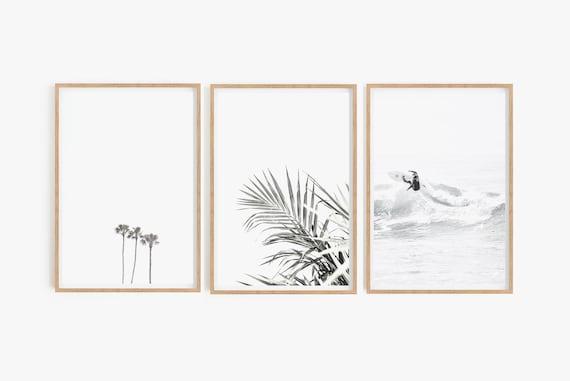 Set of Prints,Surf Print,Palm Print,Leaf Print,Set of Prints,Digital Prints,Printable Wall Art,Beach Print,Beach Wall Art,Palm Tree Print