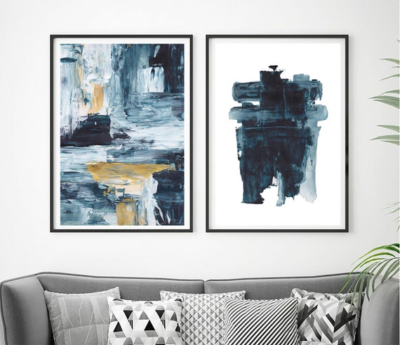 Blue Abstract Set of Prints, Set of 2 Blue Prints, Set of 2 Abstract Prints, Blue Wall Decor, Modern Minimalist Print, Abstract Printable