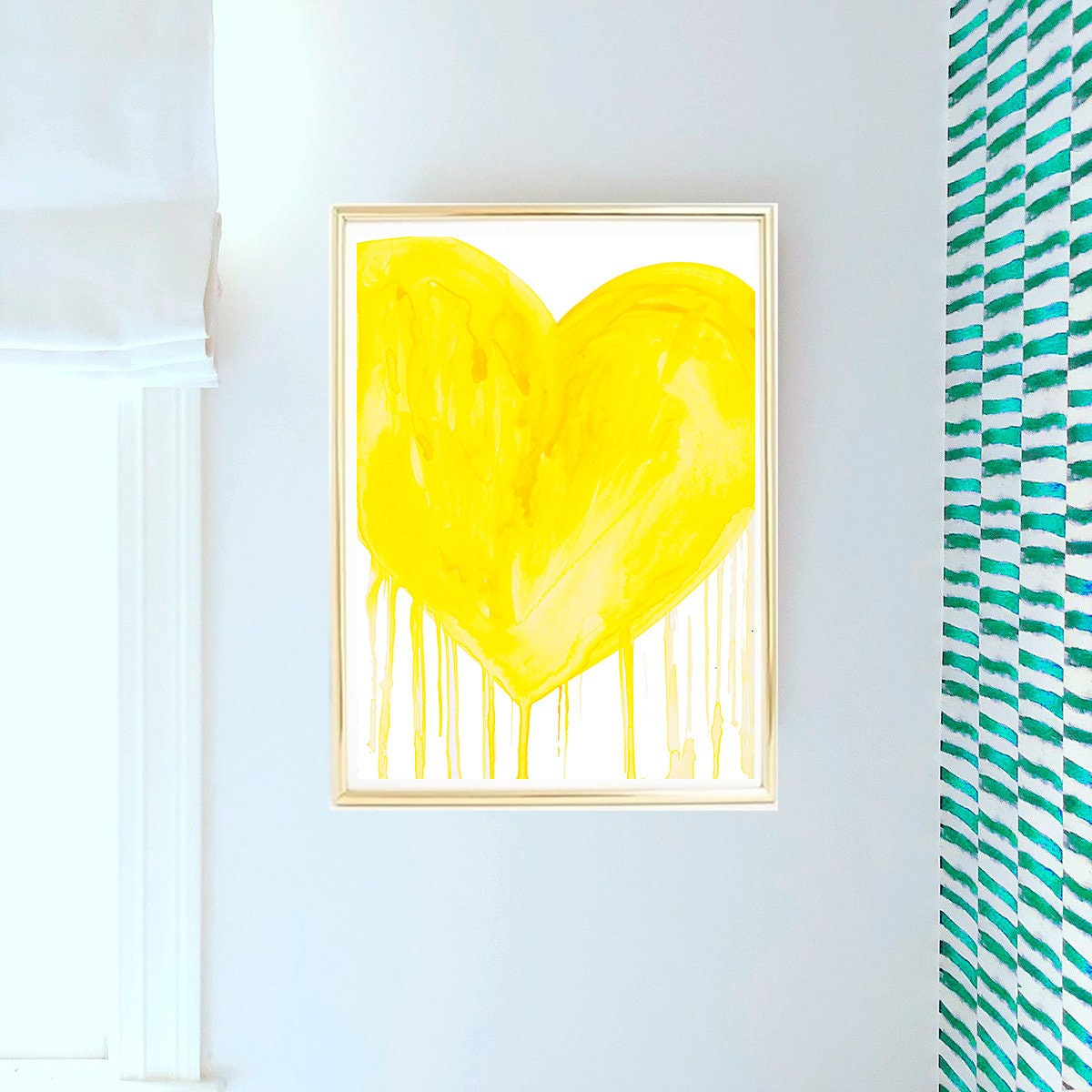 Yellow Heart Art, Yellow Abstract Art, Abstract Printable, Yellow ...