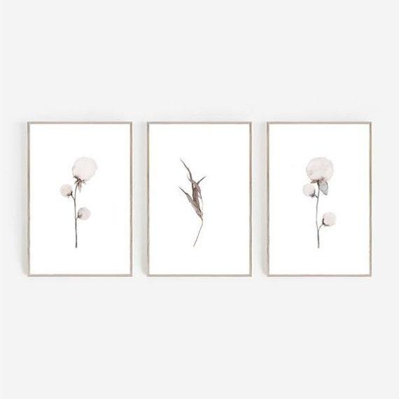 Set of 3 Prints, Farmhouse Print, Farmhouse Decor, Cotton Print, Set of 3 Wall Art, Minimalist Print, Digital Prints, Watercolor Print, Art