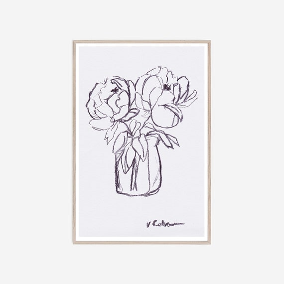 Charcoal Peony Art, Charcoal Peony Print, Graphic Art, Black White Art, Flowers Print, Graphic Print, Charcoal art, Artwork, Art, Wall Art