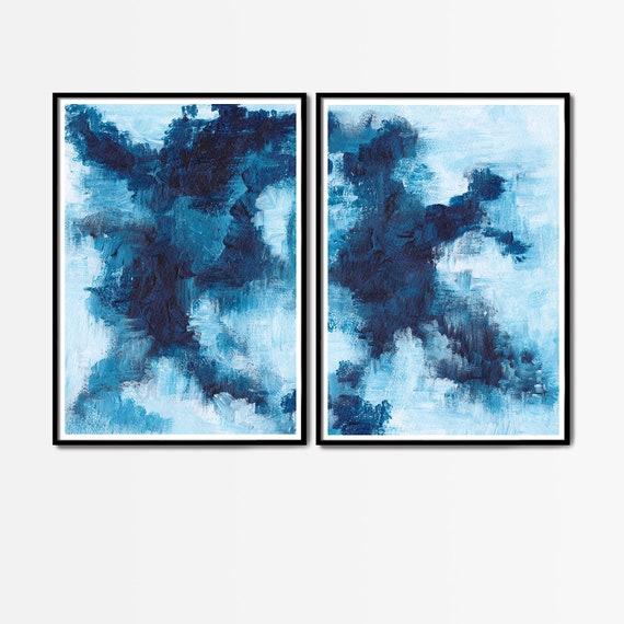 Set of 2 blue prints, Set of 2 prints, Set of 2 Wall Art, Blue Set Prints, Blue wall Art, Blue Abstract , Set of 2 Abstract Prints, Blue Art