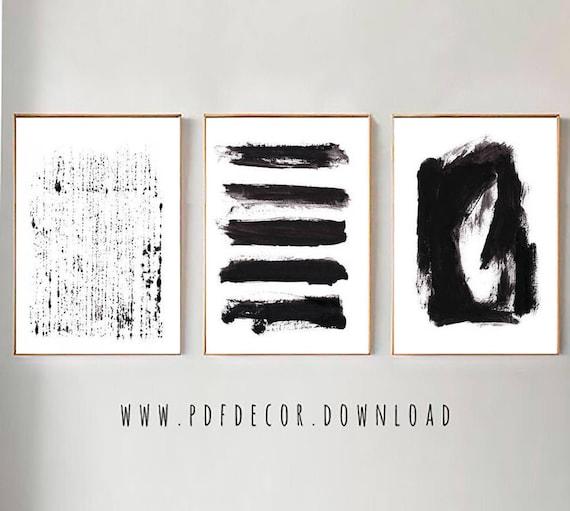Set of 3 Black Abstract Prints, Set of 3 Wall art, Abstract Wall Art, Black White Art, Minimalist Art, Set of 3, Abstract Print, Prints, Art