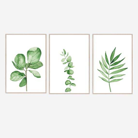 Set of 3 Botanical Prints, Watercolour Print, , Botanical Print, Minimalist Print, Tropical Print, Botanical Wall art, Set of 3 Prints, Art