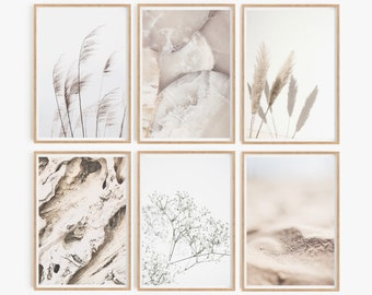 Natural Tones Wall Art Natural Style Set of 6 Prints Beige Wall Art Contemporary Prints Large Wall Art Set of Prints Prints Sets Printable
