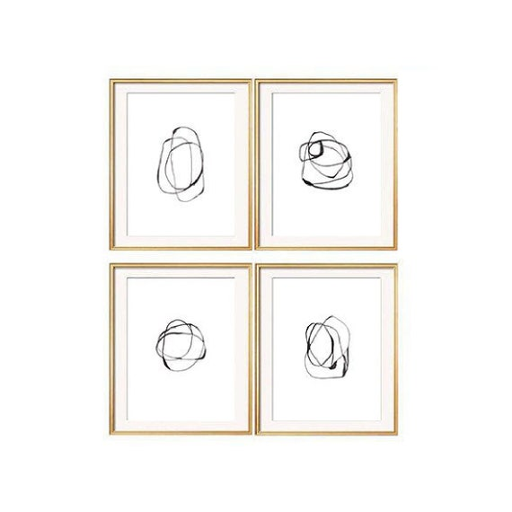 Set of 4 Black Wall Art, Set of 4 Prints, Modern Art Prints, Black Wall Art, Se of 4 Wall Art, Contemporary Art, Abstract Prints, Prints