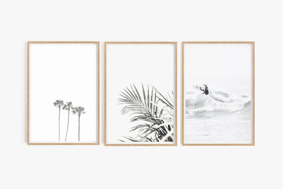 Set of Prints,Surf Print,Palm Print,Leaf Print,Set of Prints,Digital Prints,Printable Wall Art,Beach Print,Beach Wall Art,Palm Tree Print