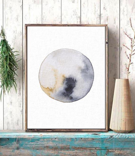 Abstract Wall Art, Art Prints, Watercolor Painting, Wall Art, Print, Moon, Abstract Print, Minimal Art, Art Prints, Art, Rustic, Modern Art