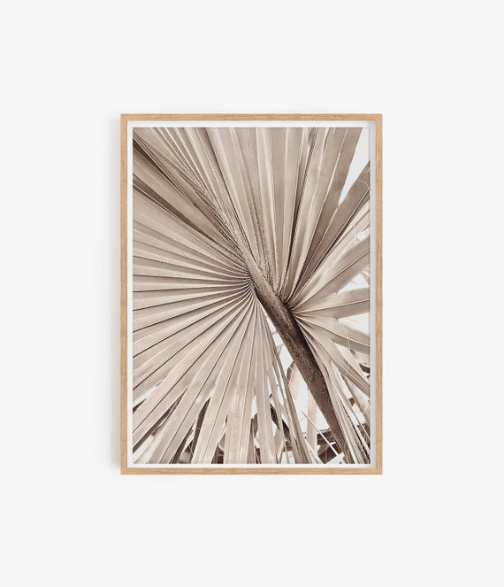 Palm Leaf Print Palm Tree Leaf Print Beige Colour Natural Colour Print Desert Boho Decor Home Decor Modern Decor Summer Decor Leaf Photo