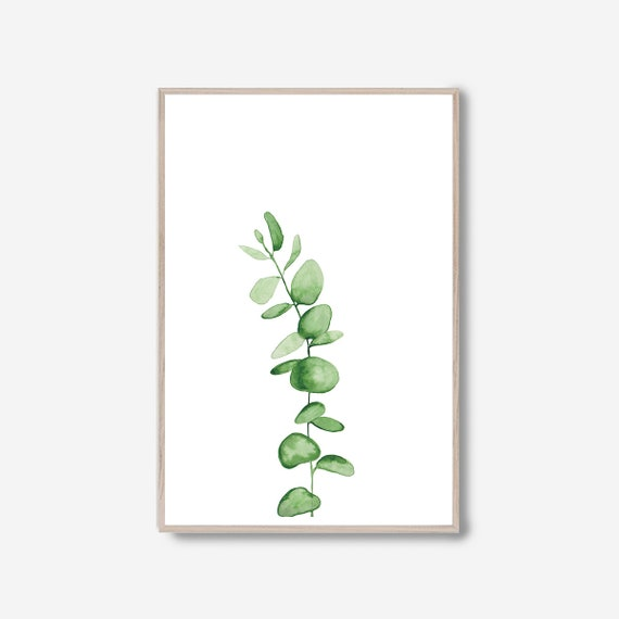 Eucalyptus Print, Eucalyptus leaves, Watercolor Leaves, Minimalist Print, Minimalist Wall Art, Tropical print, Botanical Print, Greenery
