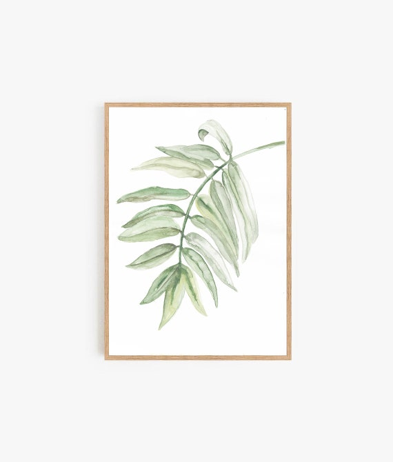 Leaf Wall Art, Botanical Print, Greenery Print, Modern art, Modern Minimal , Scandinavian Decor, Art Prints, Wall Art, Tropical Leaf, Prints