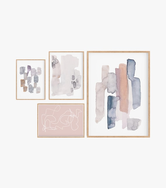 Set of 4 Prints Prints,Set of 4 wall art Watercolour Prints natural Colour Boho Decor Bohemian Set of 4 printable Modern Decor Minimalist