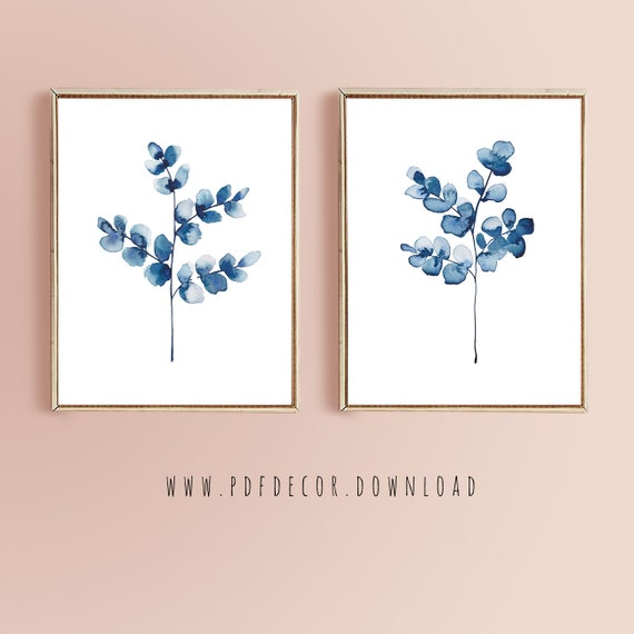 Navy Blue Wall Art, Set of 2 Navy Art, Blue Printable, Blue Watercolor, Set of 2 Printable, Digital Prints, Navy Blue Decor, Set of 2 Prints