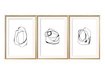Set of 3 Black Wall Art, Set of 3 Prints, Modern Art Prints, Black Wall Art, Se of 3 Wall Art, Contemporary Art, Abstract Prints, Prints