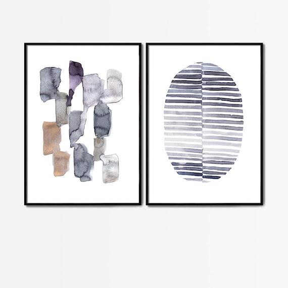 Blue Abstract Set of Prints, Set of 2 Blue Prints, Set of 2 Abstract Prints, Blue Wall Decor, Modern Minimalist Print, Abstract Printable