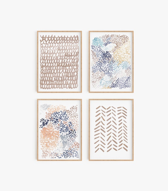 Set of 4 Prints Boho art prints, Boho wall decor, Boho wall art Prints Boho Decor Bohemian Set of 4 printable Modern Decor Minimalist
