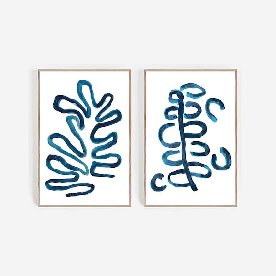 Set of 2 blue art, Set of 2 prints, Set of 2 Wall Art, Blue wall Art, Blue Abstract , Set of 2 Abstract Prints,Minimalist prints blue decor