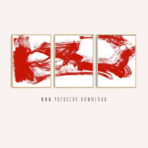 Set of 3 Red Abstract Print , Set of 3 Prints, Abstract Wall Art, Abstract Prints, Red White Art, Minimalist Art, Modern Art, Art