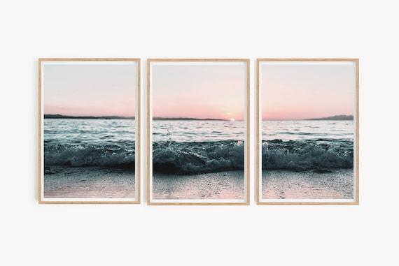Set of 3 Coastal Print Prints Gallery Wall Set Beach Print Ocean Art Large Wall Art Set Pink Wall Art Sunset Waves Print Beach Sea Print Art