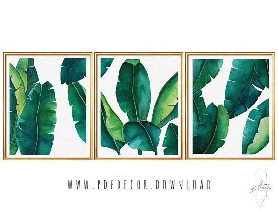 Set of 3 Prints, Tropical Leaves Set, Banana Leaf, Set of 3 Wall Art, Set of 3  tropical, Set of 3 watercolor, Tropical Prints, Botanical