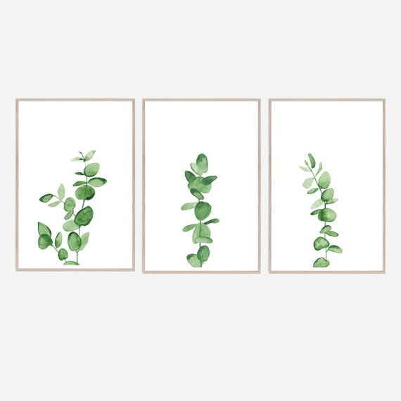 Set of 3 Eucalyptus Prints, Watercolour Print, Eucalyptus Print, Set of 3 Eucalyptus Prints, Botanical Print, Minimalist Print, Tropical Art