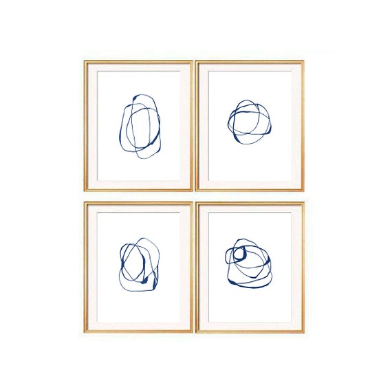 Set of 4 Navy Blue Wall Art, Set of 4 Prints, Modern Art Prints, Navy Blue Wall Art, Se of 4 Wall Art, Contemporary Art, Abstract Prints