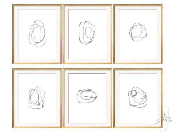 Set of 6 GRAY Abstract Art, Set of 6 Prints, Abstract Art, Minimalist Art, Gray, Large Print, Modern Art, Abstract Print Set