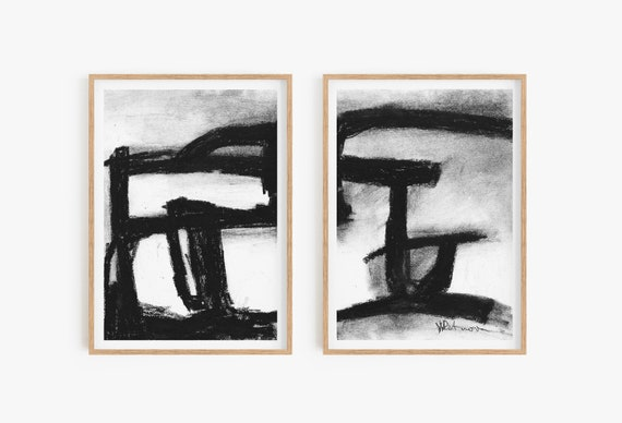 Set of 2 abstract wall art,Set of 2 prints,Black and white prints,Set of 2 wall art,Abstract Prints,Abstract wall art,Black and white decor