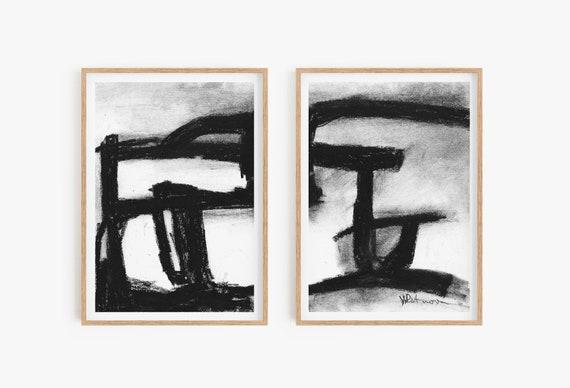 Set of 2 abstract wall art,Set of 2 prints,Black and white prints,Set of 2 wall art,Abstract Prints,Abstract wall art,Black and white decor