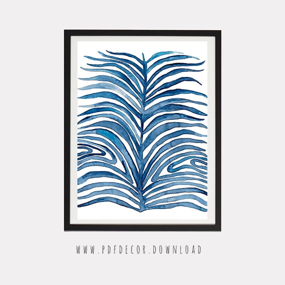 Blue Leaf Print, Blue Abstract Printable, Printable Art, Abstract Art, Abstract Wall Art, Blue Wall Decal, Modern Art, Contemporary Art, Art