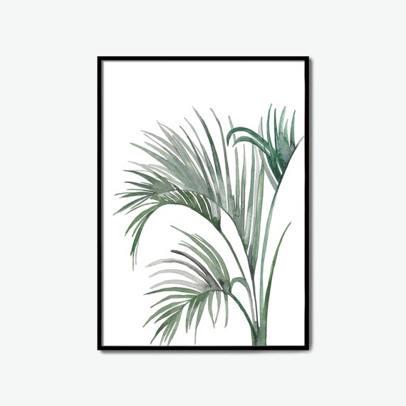 tropical, tropical leaves, wall size posters, watercolor leaf art, palm leaf poster, pictures to print, print sizes, print pictures