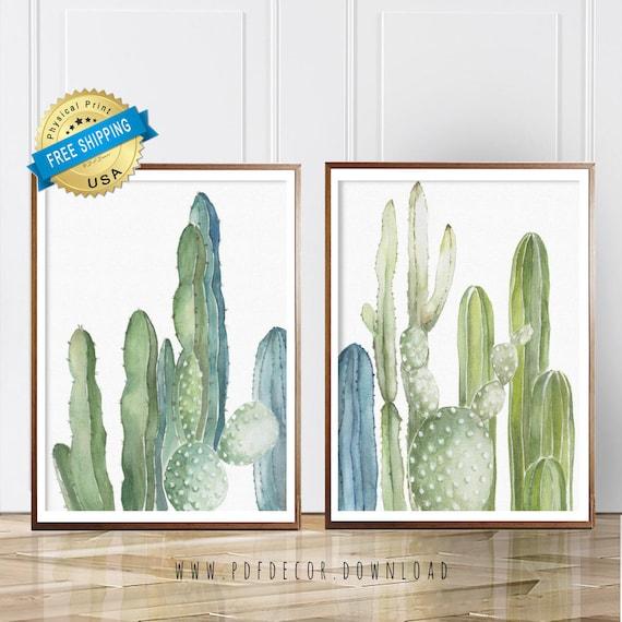 Set of 2 Large Art Prints.Cactus Watercolor Springs. Canvas effect. Photo paper poster size prints