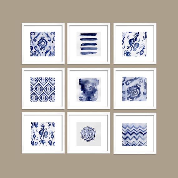 Set of 9 Blue Art, Set of 9 Blue Abstract, Navy Blue, Indigo Print, Blue Set, Art, Watercolor Art, Blue Wall, Prints, Modern Decor, Wall Art