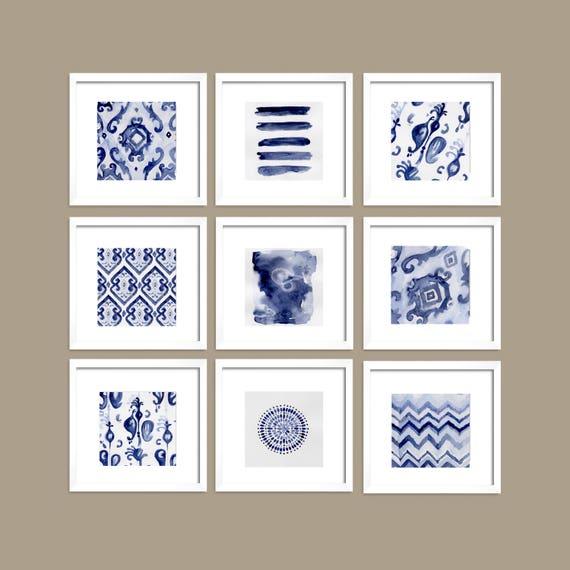 Set of 9 Blue Art, Set of 9 Blue Abstract, Navy Blue, Indigo Print, Blue Set, Art, Watercolor Art, Blue Wall, Prints, Modern Decor, Wall Art