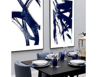 Set of 2 navy blue prints, Set of 2 prints, Set of 2 Wall Art, Set of 2 Abstract Art, Navy Blue wall Art, Blue Abstract, Set of 2 Abstract