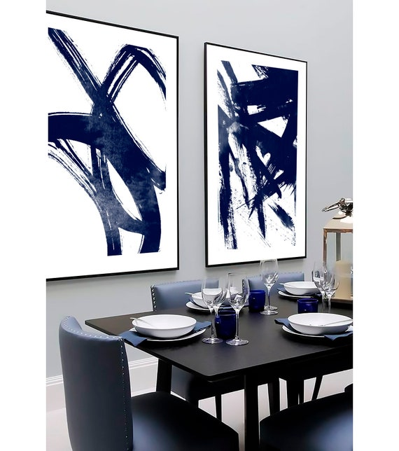 Set of 2 navy blue prints, Set of 2 prints, Set of 2 Wall Art, Set of 2 Abstract Art, Navy Blue wall Art, Blue Abstract, Set of 2 Abstract