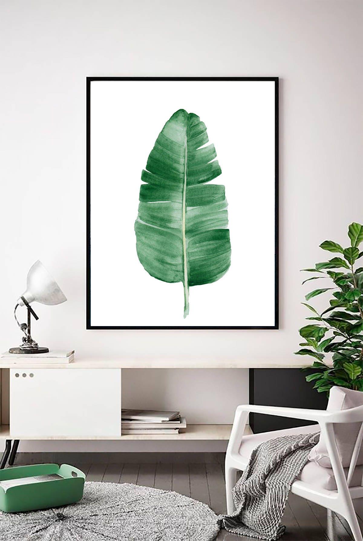 banana leaf print palm leaf print palm leaf wall art tropical