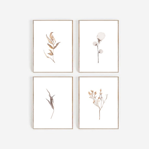 Set of 4 Botanical Prints, Art Prints, set of 4 Prints, Set of 4 Wall Art , Farmhouse Print, Farmhouse Decor,Set of 4 Minimalist Prints