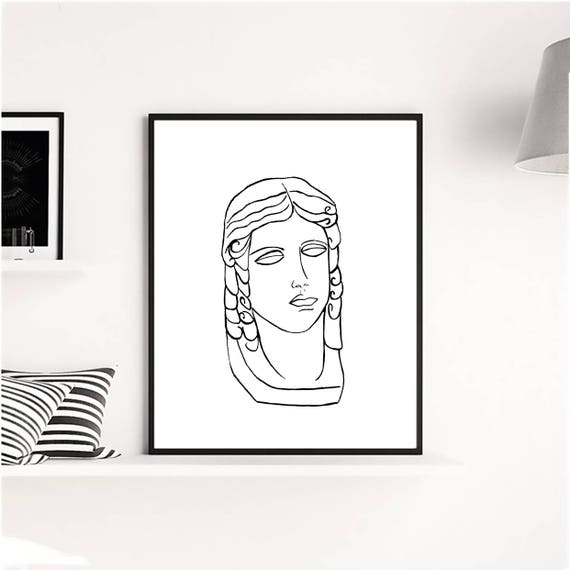 Antique head Art print, Minimalist Artwork, Minimalist Poster, Art Prints, Black White Print, Black White Abstract, Contemporary Print, Art