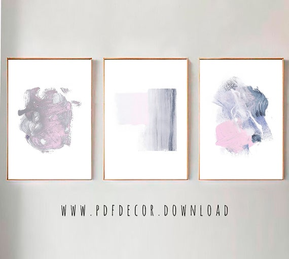 Set of 3 Abstract Prints, Set of 3 Prints, Set of 3 Wall Art, Pink Gray art, Pink Decor, Pink Abstract Art, Abstract Print, Modern art, Art