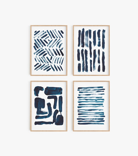 Set of 4 Navy Blue Prints Set of 4 Navy blue wall art Printable Art Blue Decor Abstract Art Minimalist prints Modern decor Set of 4 Art