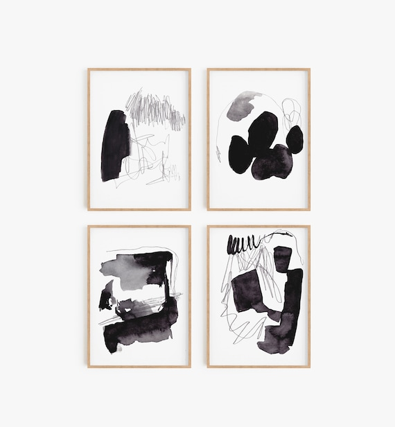 Set of 4 Abstract Art, Abstract Printable, Set of 4 Prints, Set of 4 Black White Prints, Set of 4 Black White Art, Set of 4 Abstract Prints